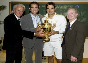 All time greats: Bjon Borg, Pete Sampras, Roger Federer, Rod Laver