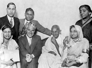 Gandhiji and Chaplin, at far right standing is Sarojini Naidu