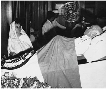 Before the Nehruvian dreams faltered and hope was traded for skepticism: Indira Gandhi watching over her father's body in Teen Murti Bhavan.